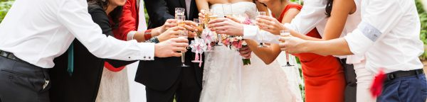 guest clanging glasses at wedding party. Wedding ceremony